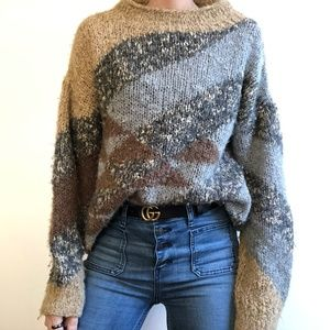 VINTAGE/ boxy textured mock neck knit sweater